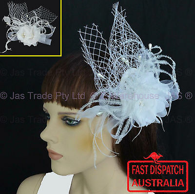 Bridal Wedding Flower Rhinestone Comb Headpiece Head Piece White Fascinator