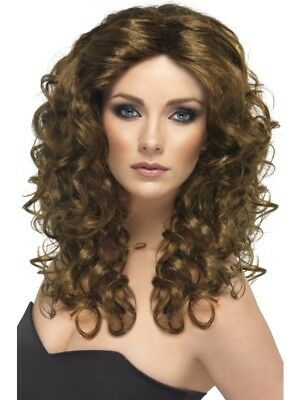 Brown Glamour Wig Long and Curly Adult Womens Smiffys Fancy Dress Costume