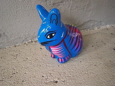 Smaller Colorful Painted Bunny Rabbit - Turquoise - Blue, Mexico