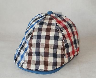 Baby Flat Cap Cotton Patchwork Blue Red Black Brown Check 6-12 Mths & 12-24 Mths