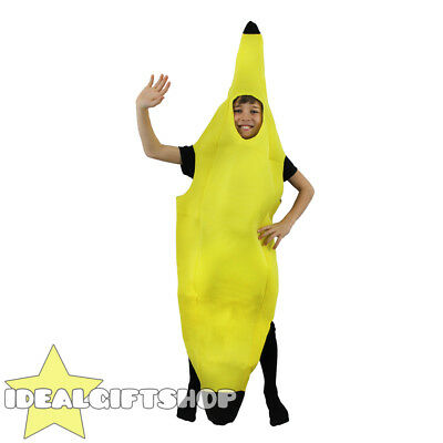 Kids Banana Costume Fruit Fancy Dress Novelty Food Childs Unisex Boys Girls