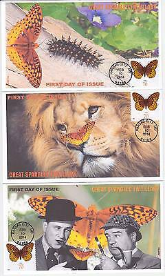 Jvc Cachets-Set Of 3-2014 Great Spangled Frillery First Day Covers Fdc Butterfly