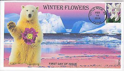 Jvc Cachets - 2014 Winter Flowers First Day Covers Fdc Topical - Bear W/ Flower