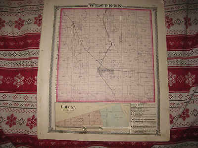 Antique 1875 Western Township Orlon Colona Henry County Illinois Handcolor Map N
