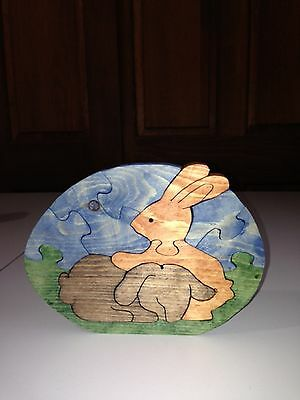 Wooden Bunny Puzzle - Handmade - 10 Pieces - Stained