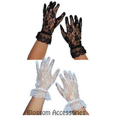 AS116 Black White Lace Short Gloves 80s Madonna Costume Burlesque