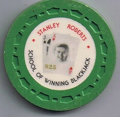 Stanley Roberts School Of  Winning Blackjack $25.00 Casino Chip Las Vegas Nevada
