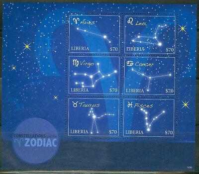 Liberia 2014 Zodiac Constellations Aires To Pisces  Sheet  Mint Never Hinged