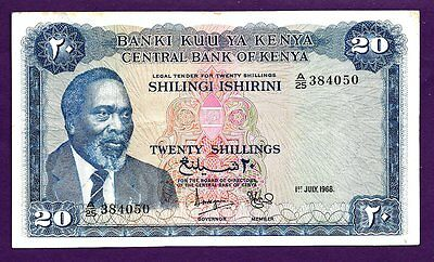 KENYA 20 SHILINGI P3c VF+ 1968 MZEE JOMO KENYATTA, TRAIN CARRYING SISAL, MTS.