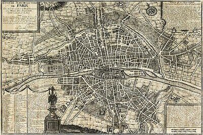 Huge historic 1705 PLAN DE PARIS CITY WALL MAP OLD ANTIQUE STYLE FINE art print