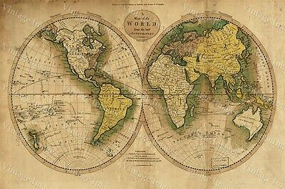 LARGE historic 1780 OLD ANTIQUE STYLE WORLD MAP Guthrie's ATLAS FINE art print