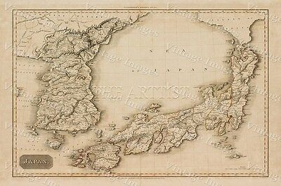 GIANT HISTORIC 1815 Pinkerton's Map Sea of Japan OLD ANTIQUE STYLE MAP art print