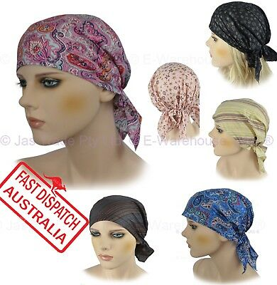 Fitted Bandana Scarf Durag Cap Hat Kitchen Chef Head Wrap Chemo Hair Loss Cover