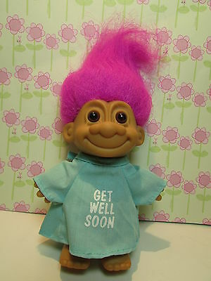 """GET WELL SOON IN HOSPITAL GOWN - 5"""" Russ Troll Doll - NEW w/OUT FOOT STICKER"""