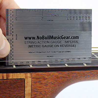 Guitar String Action Gauge - 2 SIDED Metric & Imperial Luthier Setup Ruler Bass