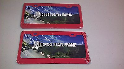 FOR FRONT AND BACK 2 SALMON RED Heavy Duty Metal License Plate Frame NEW