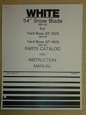 1977 White 54 Inch Snow Blade Model 990 122 Yard Boss Gt Parts Manual