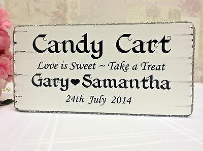 Wedding Signs Candy Cart  Personalised Wedding Sign Free Standing Shabby Vintage