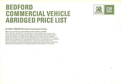1972 (Aug) Bedford Commercials Abridged Price List