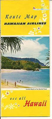 Hawaiian Airlines Brochure Hawaii Early 1950S Map Inner Island Routes Vintage
