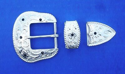 """Western Cowboy/Cowgirl Bling Bright Silver Plated 1 1/2"""" Crystal Buckle Set"""