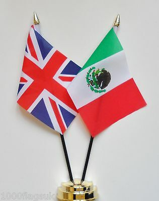 United Kingdom & Mexico Double Friendship Table Flag Set