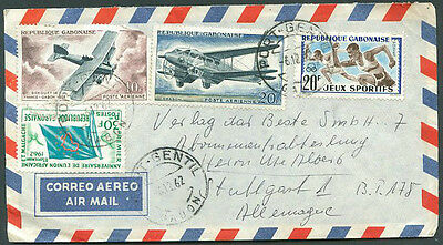 FRANCE GABON TO GERMANY Old Air Mail Cover VF
