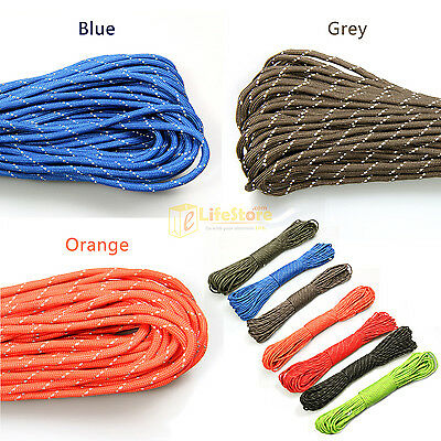 100ft 7 Strand 550 Survival Reflective Paracord Parachute Cord Lanyard TYPE III