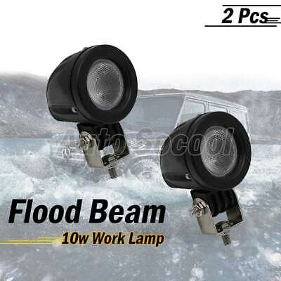 2X 10W USA LED Round Flood Work Light for Car Boat Truck 800LM Round AU Stock
