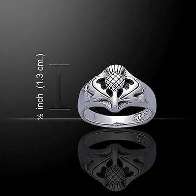 Classic Scottish Themed Celtic THISTLE Silver RING - Scotland's National Symbol