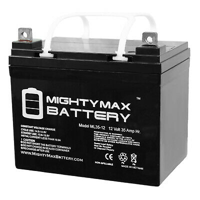 Mighty Max ML35-12 - 12V 35AH U1 Deep Cycle AGM Solar Battery Replaces 33Ah, 34A