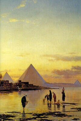On The Nile Egypt River Pyramids Orientalist Painting By Hermann Solomon Repro