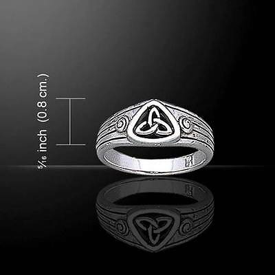 Elegant Trinity Knot Triquetra Irish Celtic Sterling Silver Ring
