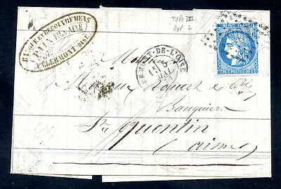 FRANCE COVER CLERMONT 1871 W/Different Canceled on the way w/Yv#46B