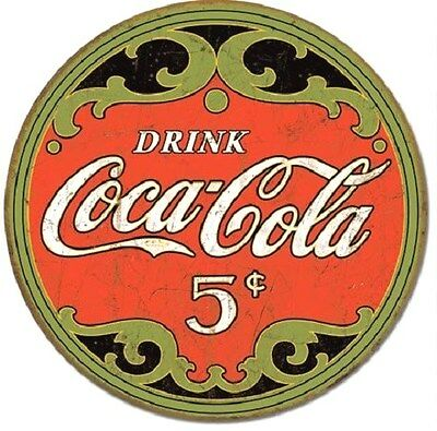 "Coke ""Drink Coca Cola 5 cents""  Weathered Nostalgic Tin Metal Sign"