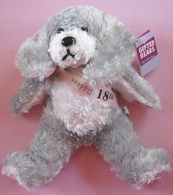 """NEW Skansen Gifted Bears Happy 18th Pink Grey Gift Bear Soft Toy 26cm 10"""" NWT"""