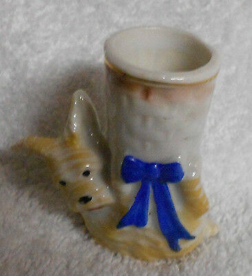 Scotty Scottie Dog Tan Blue Bow Occupied Japan Toothpick Holder
