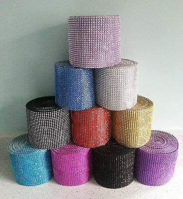 1 mtr diamante mesh bling ribbon band 2 to 24 rows wide choose from 11 colours
