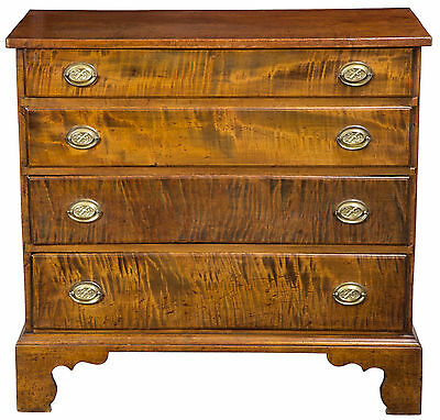 SWC-Outstanding Chippendale Tiger Maple Chest w/ Original Brasses, c.1790