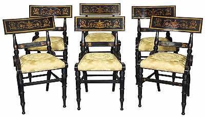 SWC-Magnificent Set of 6 Ebonized and Gilt Baltimore Painted Chairs, c.1825