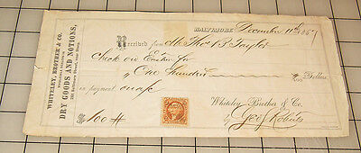 """1867 WHITELEY, BROTHER & CO. Receipt With """"2 Cent Stamp"""" Baltimore, MD"""