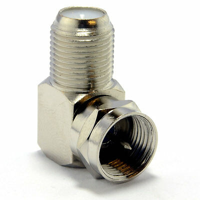 F Type Satellite Socket to Right Angle Male Plug Coupler Adapter [006053]