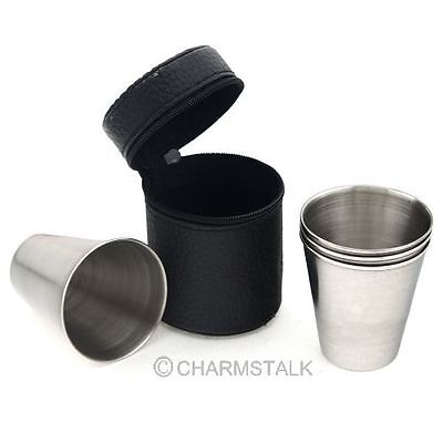 4pcs Mini Portable Foldable Cup Stainless Steel Wine Mug Travel Home Outdoor