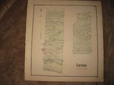 Antique 1868 Lewis Township Hartleton Union County Pennsylvania Handcolor Map Nr