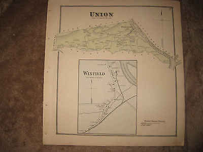 Antique 1868 Union Township Winfield Union County Pennsylvania Handcolor Map Nr