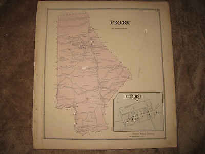 Antique 1868 Perry Township Fremont Snyder County Pennsylvania Handcolor Map Nr