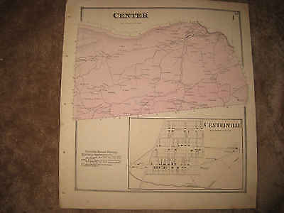 Antique 1868 Center Township Centerville Snyder County Pennsylvania Hndclr Map N