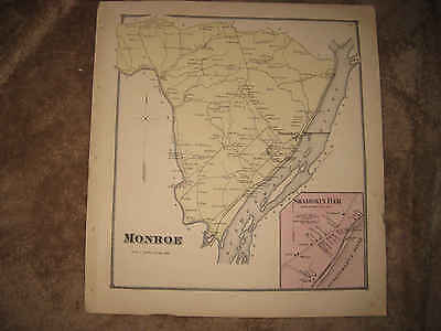Antique 1868 Monroe Shamokin Dam Township Snyder County Pennsylvania Handclr Map