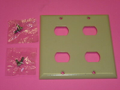 Nos! (2) Bell Interchange 2-Gang Wall Plate, 4-Hole Horizontal, Ivory