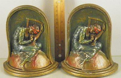 Antique Cast Iron Painted Polychrome Pair Bookends  ''Lost Hope'' Marked K&O